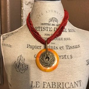Tibetan 'amber' & brass wheel necklace w/red beads